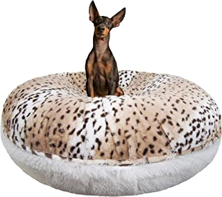 product image for Bessie and Barnie Signature Aspen Snow Leopard / Snow White Luxury Shag Extra Plush Faux Fur Bagel Pet / Dog Bed (Multiple Sizes), XS - 24""