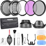 Neewer 58MM Professional Accessory Kit for CANON EOS Rebel T5i T4i T3i T3 T2i T1i XT XTi XSi SL1 DSLR Cameras- Includes: Filter Kit (UV, CPL, FLD) + Carrying Pouch + Lens Hoods (Tulip and Collapsible) + Flash Diffuser Set + Lens Caps (Center Pinch and Snap On) + Cap Keeper Leash + Deluxe Cleaning Kit + Microfiber Cleaning Cloth
