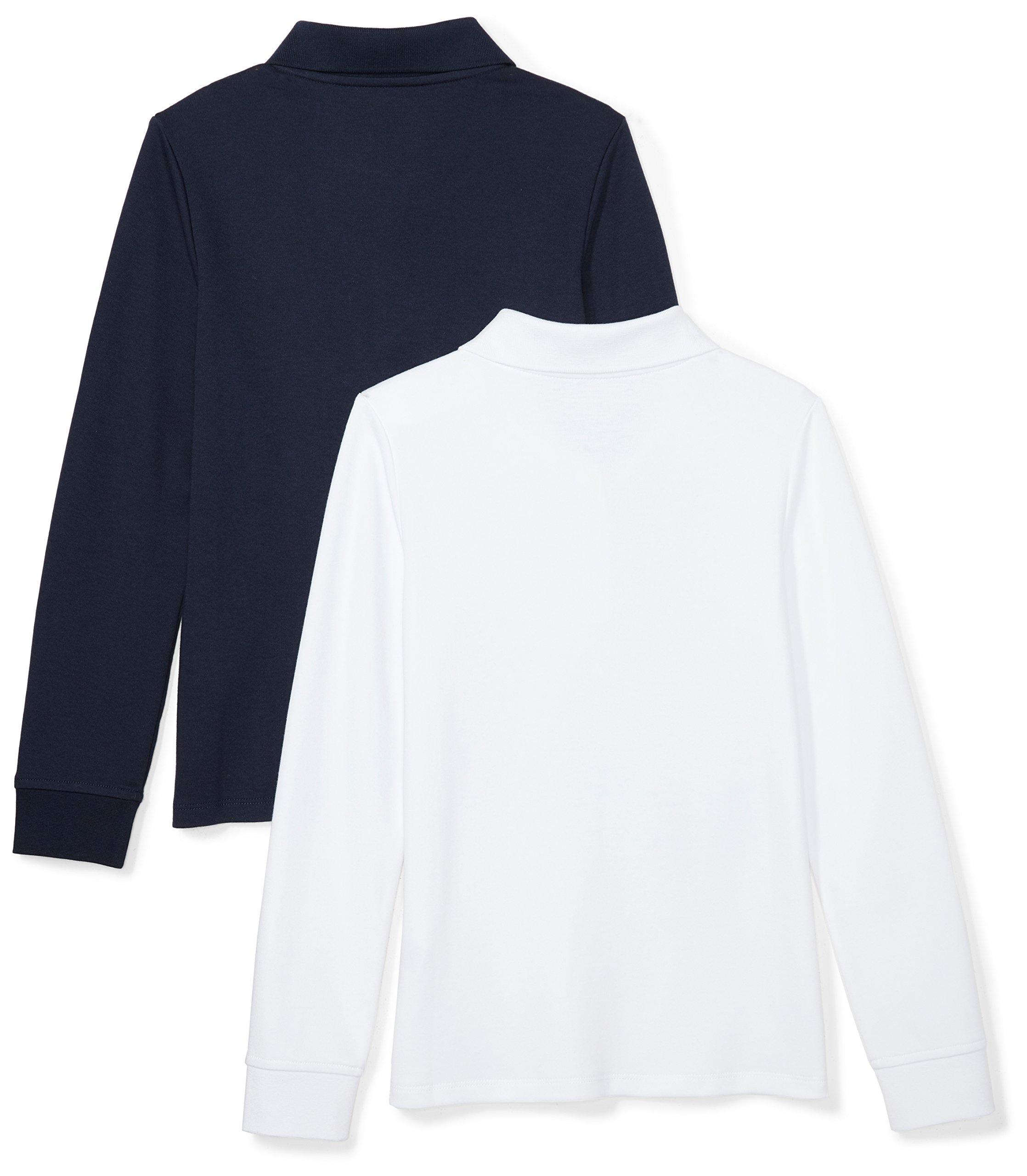 Amazon Essentials Girls' 2-Pack Long-Sleeve Interlock Polo Shirt, Navy/White, XS (4-5) by Amazon Essentials (Image #2)