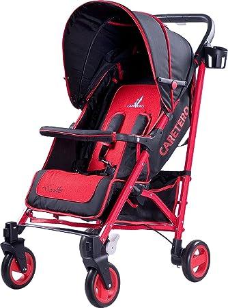 Silla de paseo Sonata de Caretero con cubrepiernas y plástico de lluvia, Farbe:Red