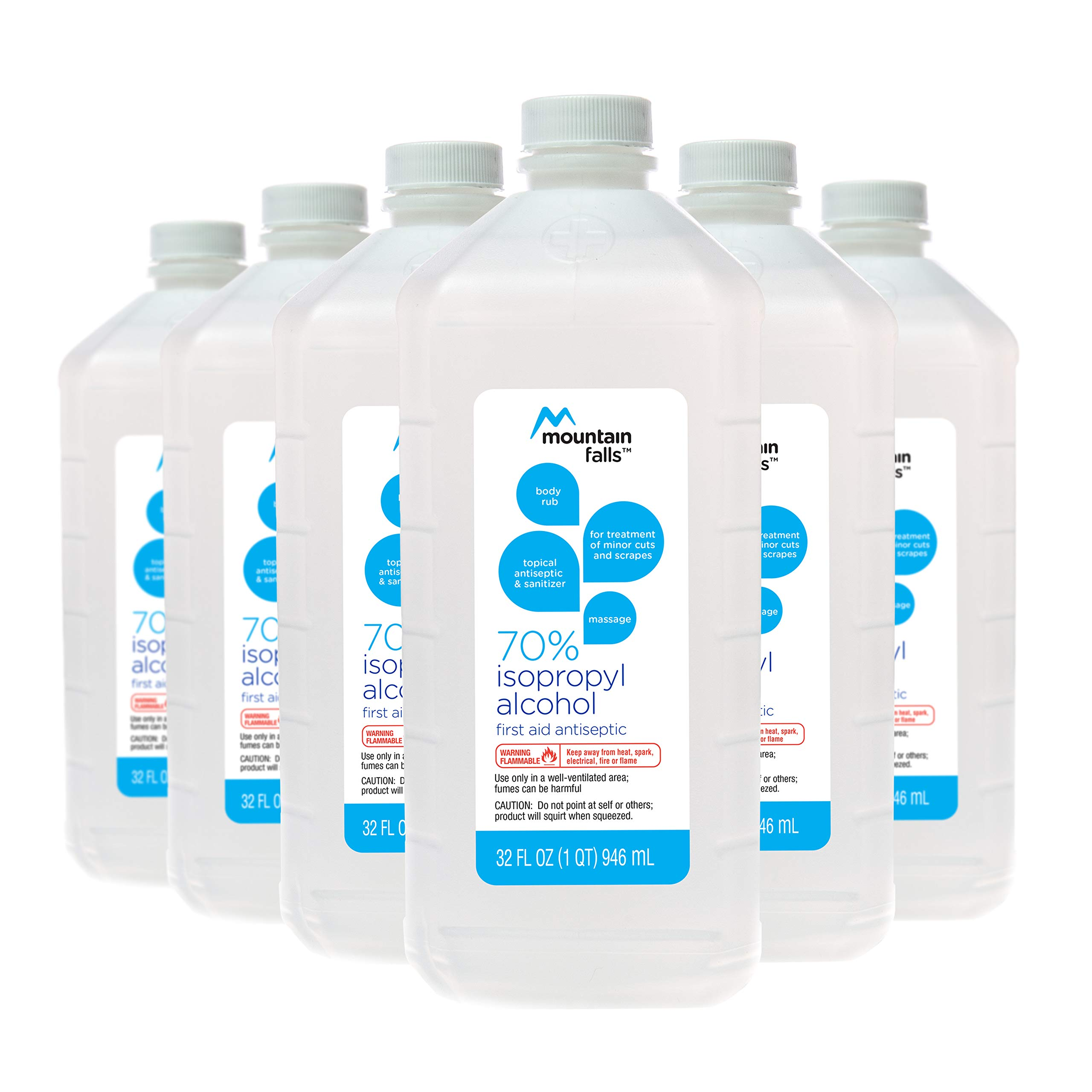 Mountain Falls 70% Isopropyl Alcohol First Aid Antiseptic for Treatment of Minor Cuts and Scrapes, 32 Fluid Ounce (Pack of 6)