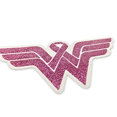 Wonder Woman Breast Cancer Awareness Decal. Show Your Support and Strenght with This Beautiful Glitter Covered Clear Viny Sticker. Display This for Yourself or Someone You Love. Fight Back!!!: Automotive