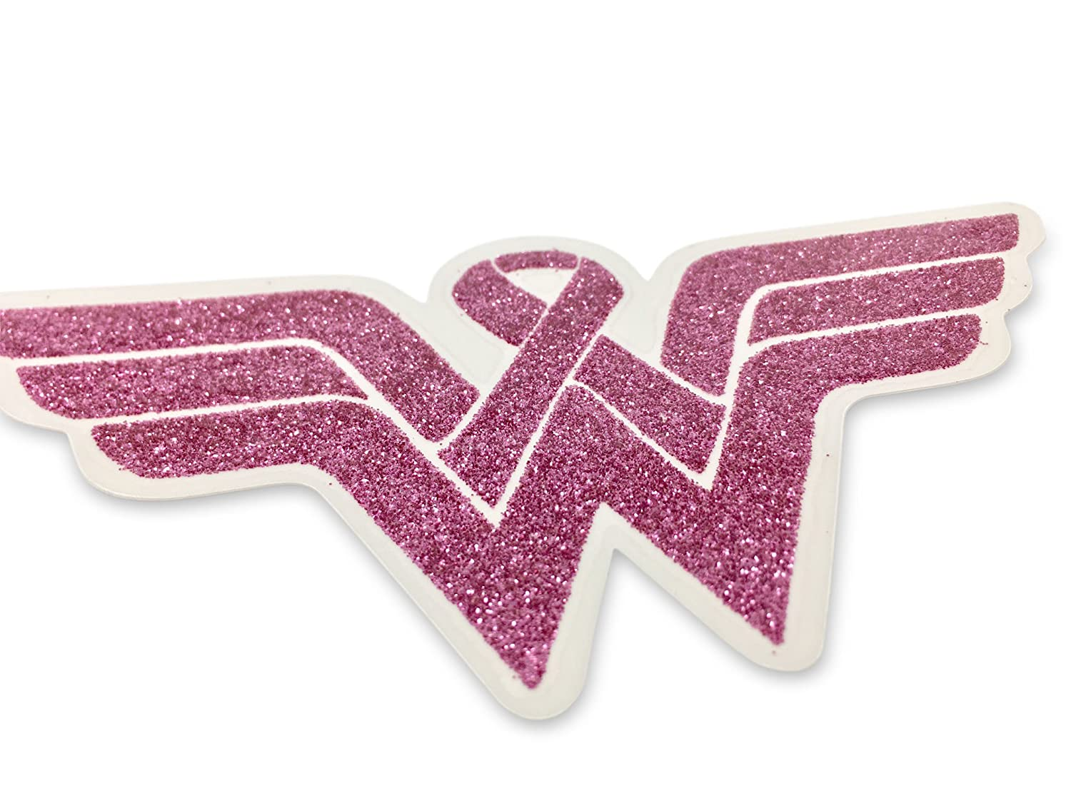 Wonder Woman Breast Cancer Awareness Decal. Show your support and strenght with this Beautiful Glitter Covered Clear Viny sticker. Display this for yourself or someone you love. Fight Back!!! Blueline WonderWoman7
