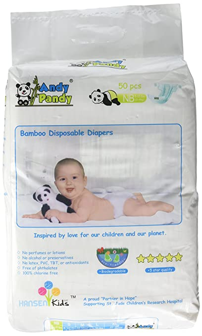 Amazon.com: Eco Friendly Premium Bamboo Disposable Diapers by Andy Pandy - Small - For Babies Weighing 6-16 lbs - 94 count: Health & Personal Care