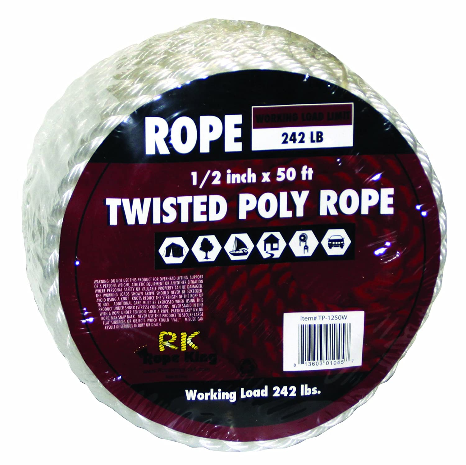 B005TLVY1E Rope King TP-1250W Twisted Poly Rope - White - 1/2 inch x 50 feet 81I4HzlWcKL