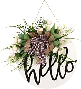 Welcome sign for front door Round Wood Sign Hanging Welcome Sign for Farmhouse porch Spring Welcome Sign Front Door Decoration