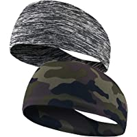 Headbands for Men and Women - Sweatbands Sports Headband for Yoga, Running, Fitness 2 Pack