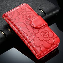 Bosun£¨TM) FLOVEME 7/Plus Luxury Camellia Wallet Holster Leather Case For