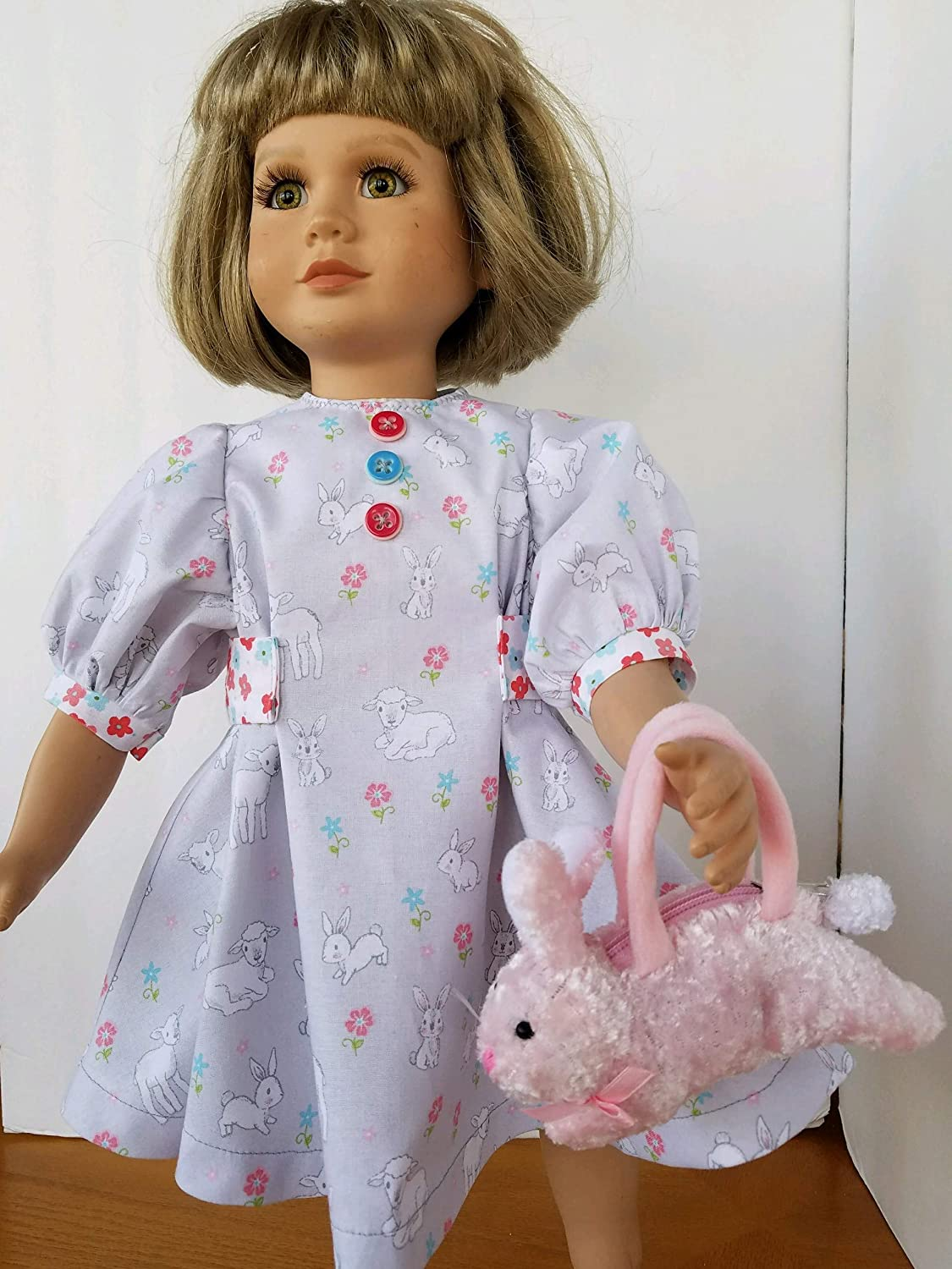 23 My Twinn Easter Spring Dress features Lambs /& Bunnies Bunny Purse