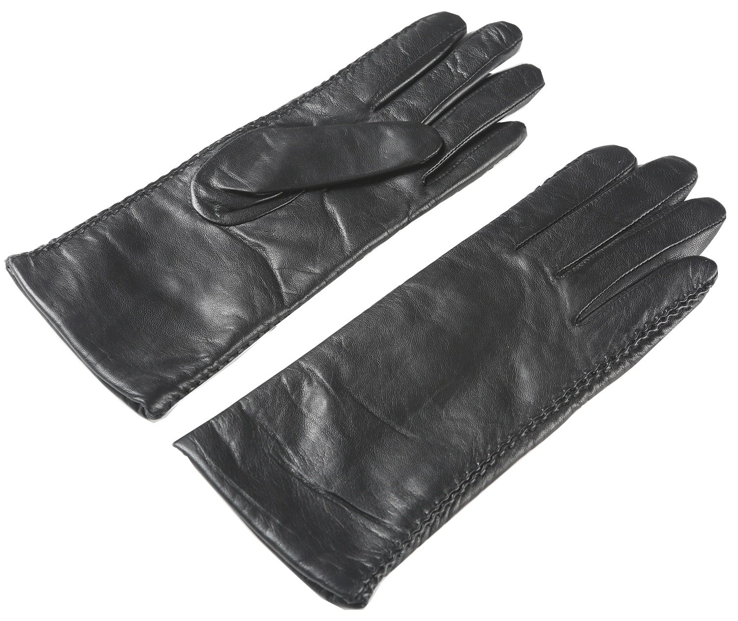 Ambesi Women's Touchscreen Fleece Lined Soft Nappa Leather Winter Gloves Black M