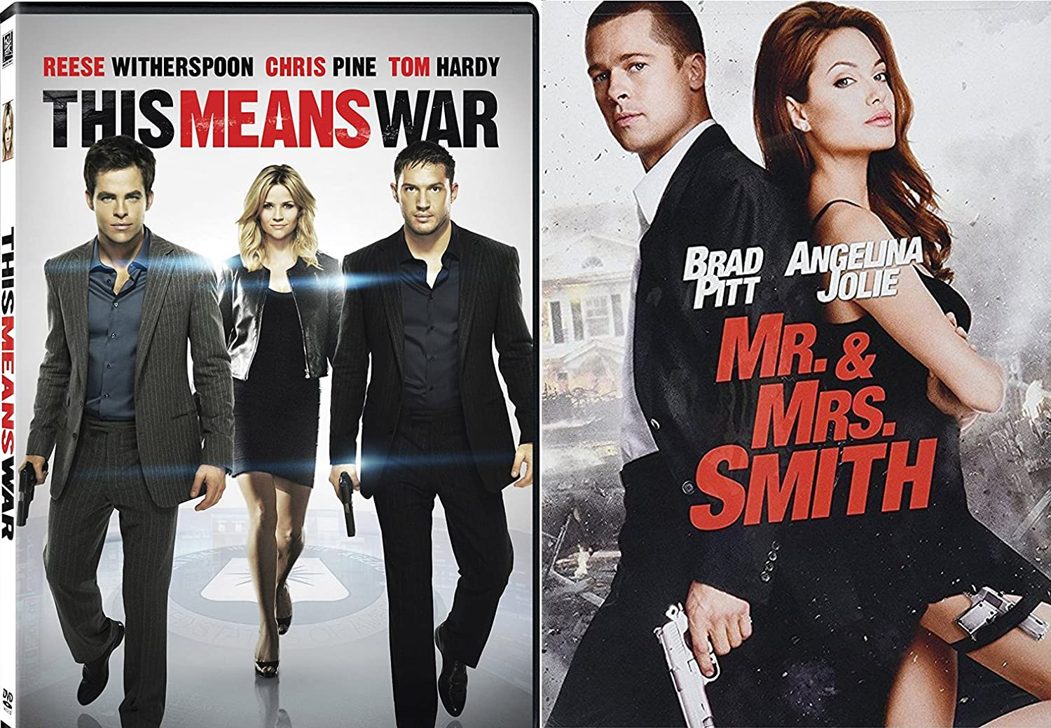 Amazon Com This Means War Mr Mrs Smith Dvd 2 Pack Action Movie Set Star Double Team Tom Hardy Reese Witherspoon Brad Pitt Angelina Jolie Doug Liman Movies Tv