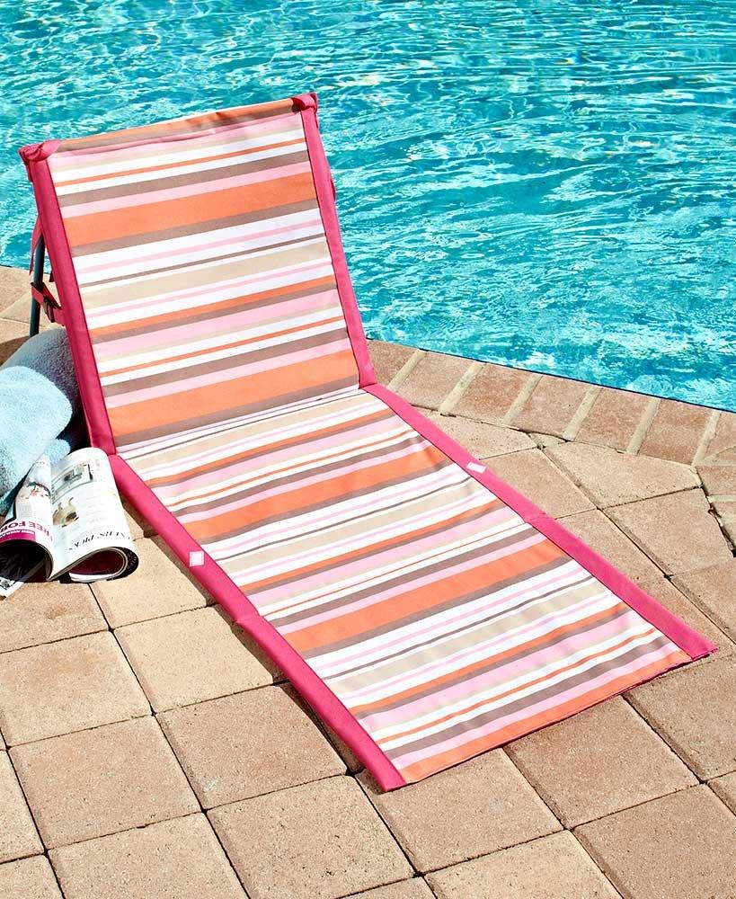 MattsGlobal Classic Compact and Lightweight Striped Folding Beach Loungers (Pink/Orange)