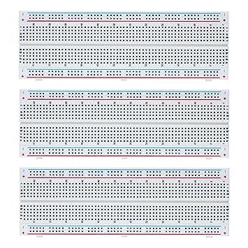 VIPMOON 3 piezas MB-102 Breadboard 830 puntos Prototipo sin soldadura Kit de placa PCB para Arduino Proto Shield Distribución bloques de conexión: ...