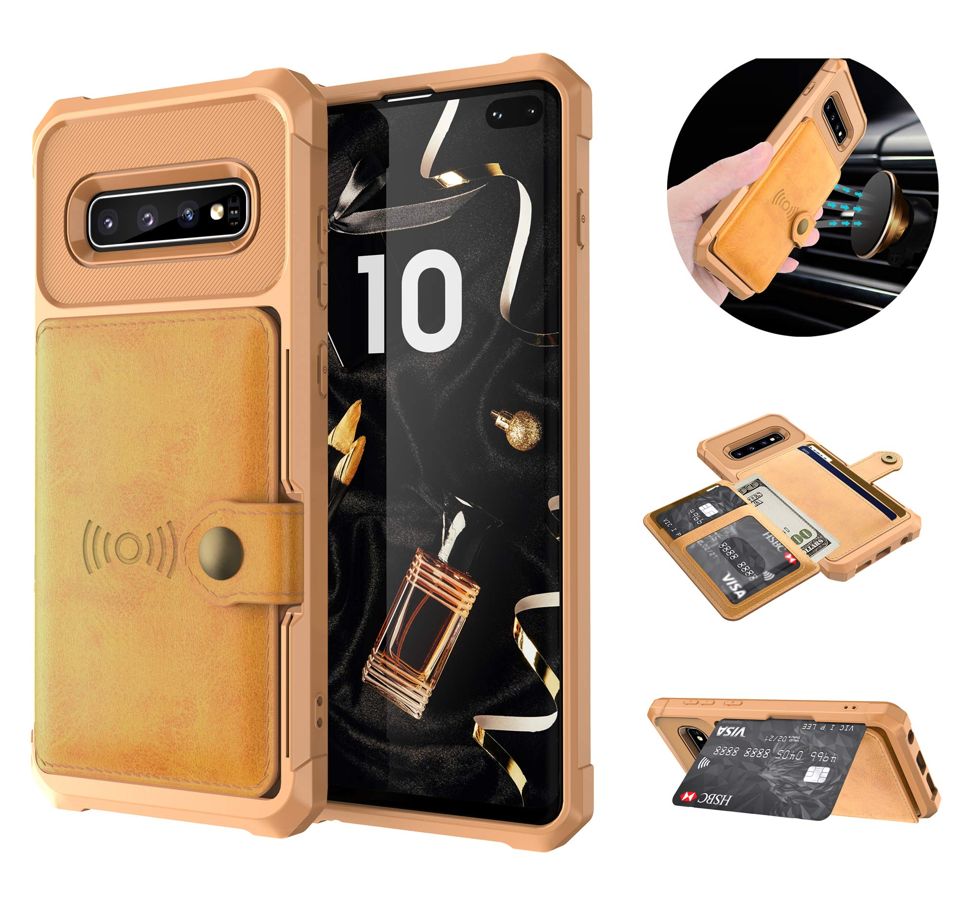 Tznzxm Galaxy S10+ Plus Wireless Charging Wallet Case with Credit Card Holder Kickstand Rubber [Work with Magnetic Car Mount] Durable Flip Shockproof Protective Cover for Galaxy S10 Plus Brown