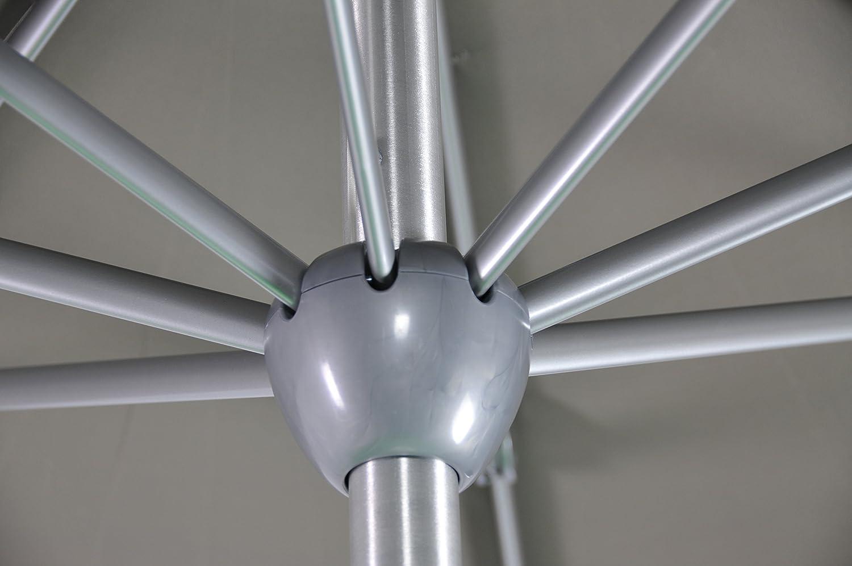 Commande /à Manivelle Pied excl. Diam/ètre du M/ât /Ø 48 mm Rond /Ø 300 cm // 3 m SORARA Apple Parasol de Jardin Exterieur Taupe