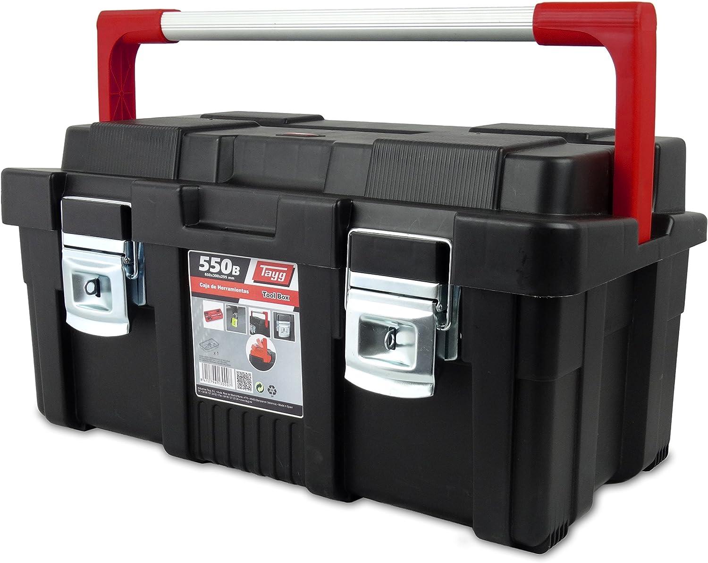 Tayg 170003 Caja de herramientas de plástico-aluminio 550-B, negro, 550 x 300 x 275 mm: Amazon.es: Bricolaje y herramientas