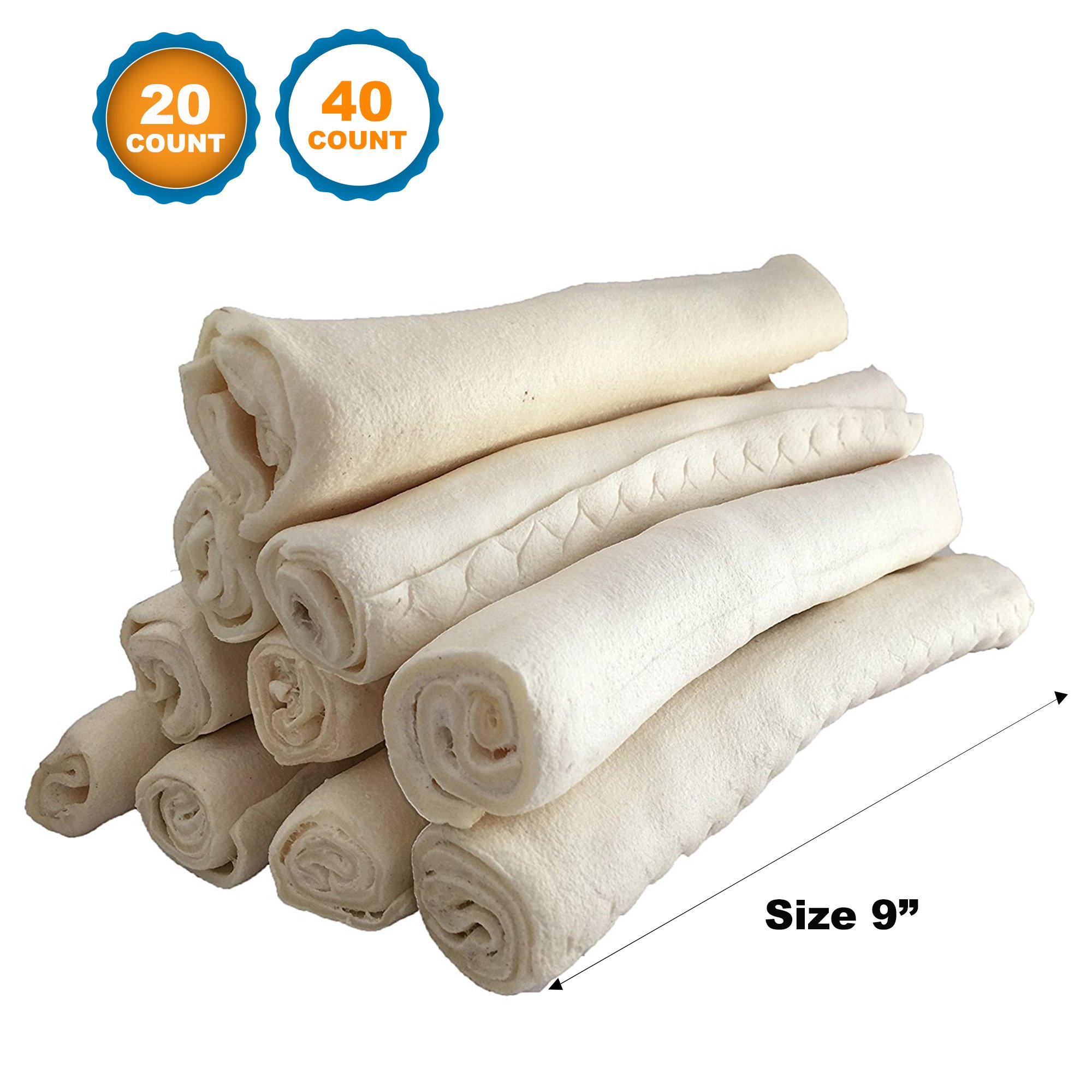 123 Treats | Rawhide Roll 9'' (20 Count) Heavy Weight | 100% Natural Retriever Rolls