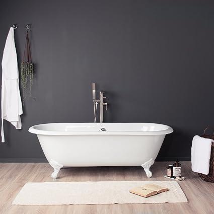 Wonderful MAYKKE Shirley 67u0026quot; Traditional Oval Clawfoot Tub | Elegant White Cast Iron  Bathtub With Feet