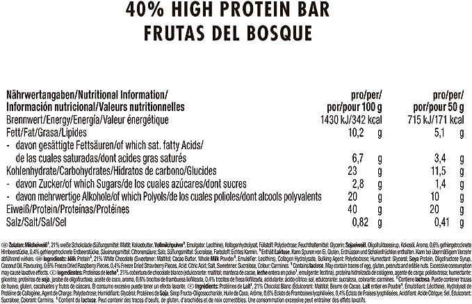 Weider 40% Protein Low Carb. Barrita alto contenido en proteínas sin hidratos de carbono. 40% de proteínas por barrita. Sabor Frutas del bosque (24 x ...