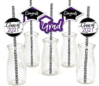 product image for Big Dot of Happiness Purple Grad - Best is Yet to Come - Paper Straw Decor - Purple 2021 Graduation Party Striped Decorative Straws - Set of 24