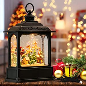 Wondise Christmas Musical Snow Globe Lantern with 6 Hour Timer, 11.2 Inch USB Plug-in & Battery Operated Spinning Water Glitter Lighted Snow Globe Christmas (Santa Claus and Sleigh)