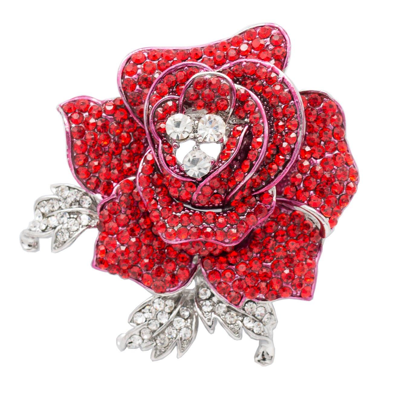 Rhinestone Crystals Wedding Bridal Rose Flower Brooch Pin Broach for Women Jewelry (Red)