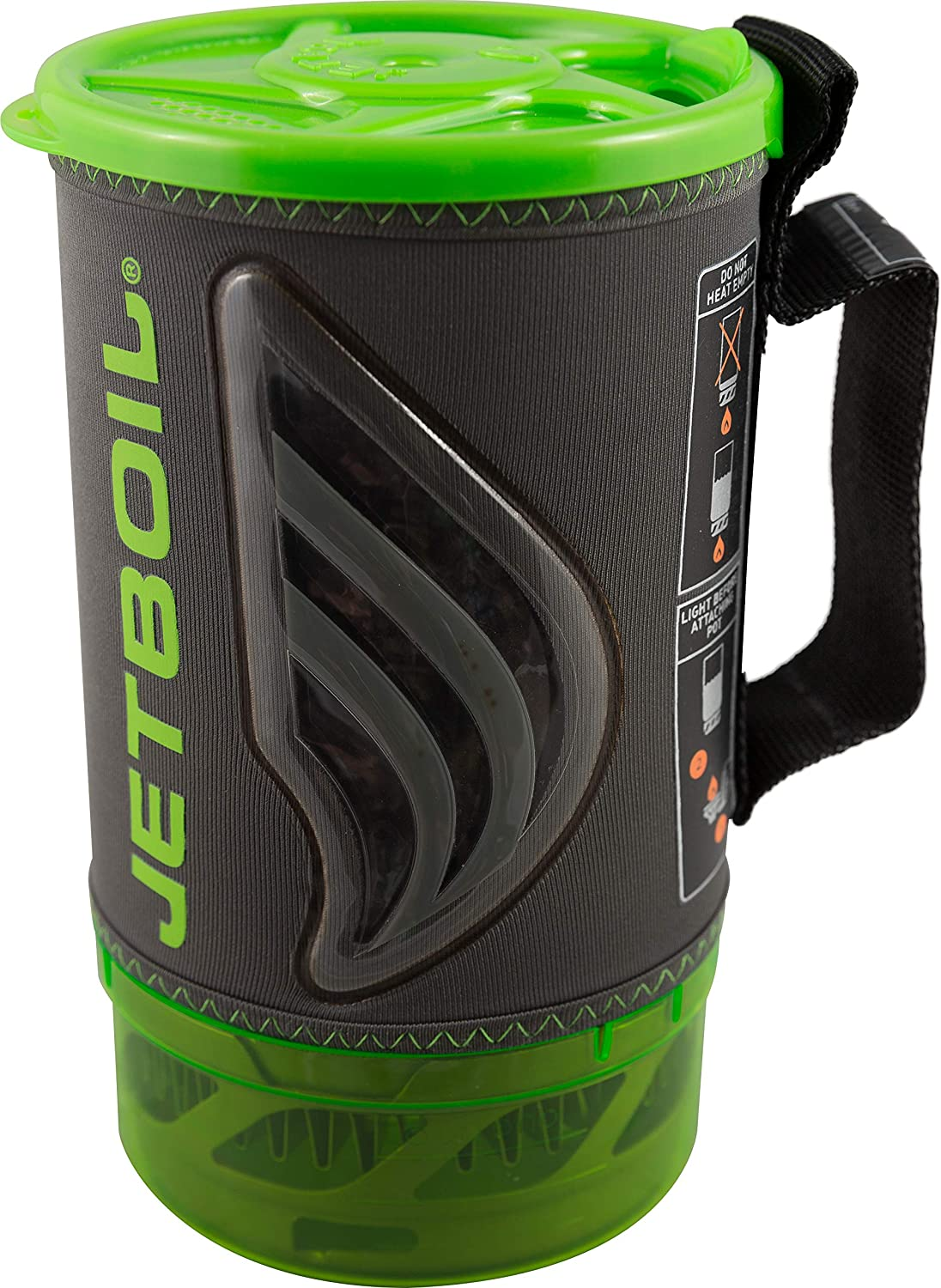 A photo of the Jetboil coffee presser in black and green colors, with the word Jetboil written vertically.