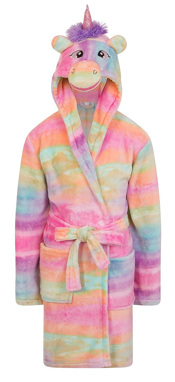 Girls Fleece Unicorn Rainbow Multicoloured Dressing Gown Luxury ...