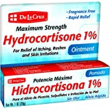 De La Cruz Hydrocortisone 1% Ointment, Maximum Strength, No Preservatives, Colors or Fragrances, Made in USA, 1 OZ.