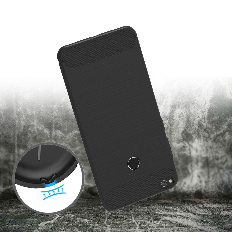 Funda Huawei P8 Lite 2017, iVoler Negro Súper TPU Silicona Carcasa Fundas Protectora con Shock- Absorción y Diseño de Fibra de Carbon Para Huawei P8 Lite ...