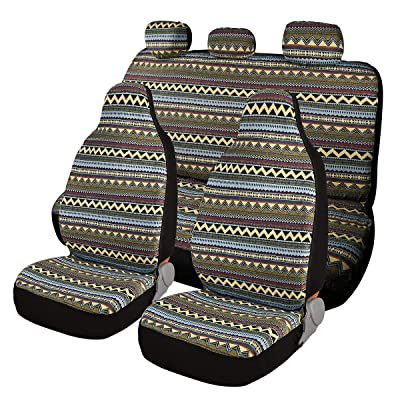 AUTOJING Universal Seat Covers Full Sets-Bohemian Styling,for Cars SUV(bohe02): Automotive