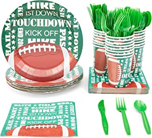 Football Party Bundle Includes Plates, Napkins, Cups, and Cutlery (Serves 24, 144 Pieces)