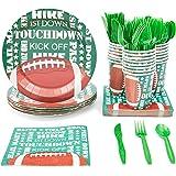 Desechables vajilla–sirve 24–Suministros para fiesta de fútbol americano–incluye cuchillos, cucharas, tenedores de plás