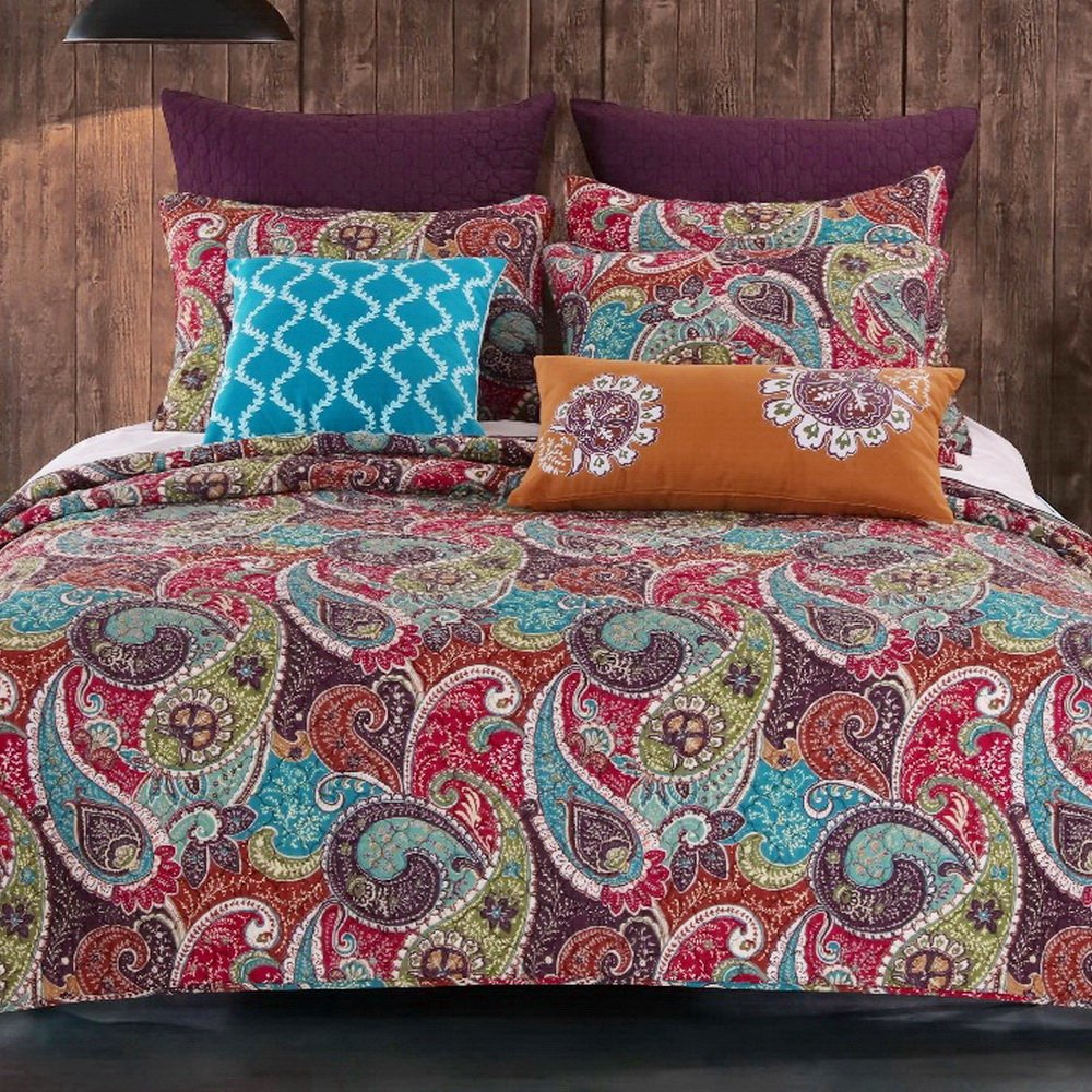 Vintage Retro Paisley Pattern Print Bedding Multicolor Purple Blue 100 Cotton Luxury Reversible 3 Piece Quilt Set