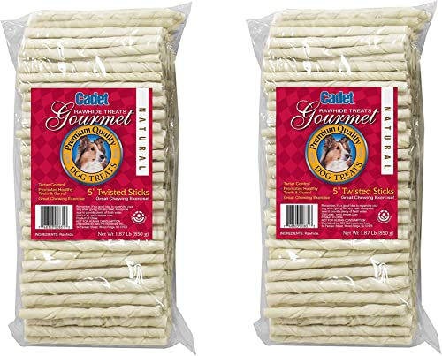Cadet 2 Pack of Twisted Sticks, 1.87 Pounds Each, 5 Inch Natural Gourmet Rawhide Treats