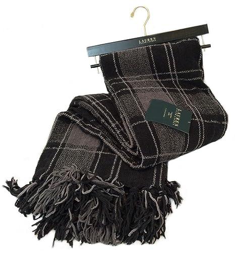 Ralph Lauren Chenille Throw Blanket Tartan Plaid Gray Black Plush Stunning Black Chenille Throw Blanket