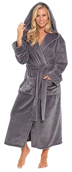 Slumber Hut® Womens Luxury Hooded Fleece Dressing Gown - Ladies Snuggle  Warm Winter Robe - 158cae327