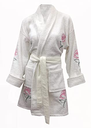 1730c0a932 Image Unavailable. Image not available for. Color  Aegean Apparel Classic  Rose Appliqued Cotton Bathrobe