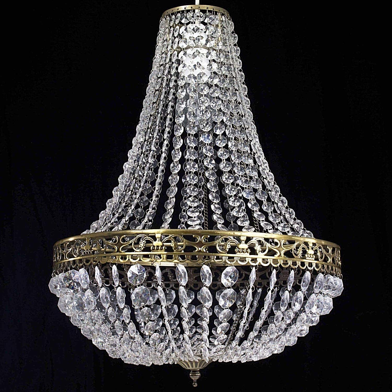 Klass Home Acrylic Chandelier Classic Vintage Chic Ceiling Light Shade Crystal Drop Light Easy Fitting Pendant Lampshade with ChromeBrass Finish