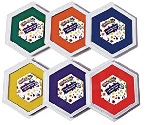 "Colorations Classic Primary Colors Jumbo Washable Stamp Pads Washable Ink Pack of 6 (6""L x 7""W)"