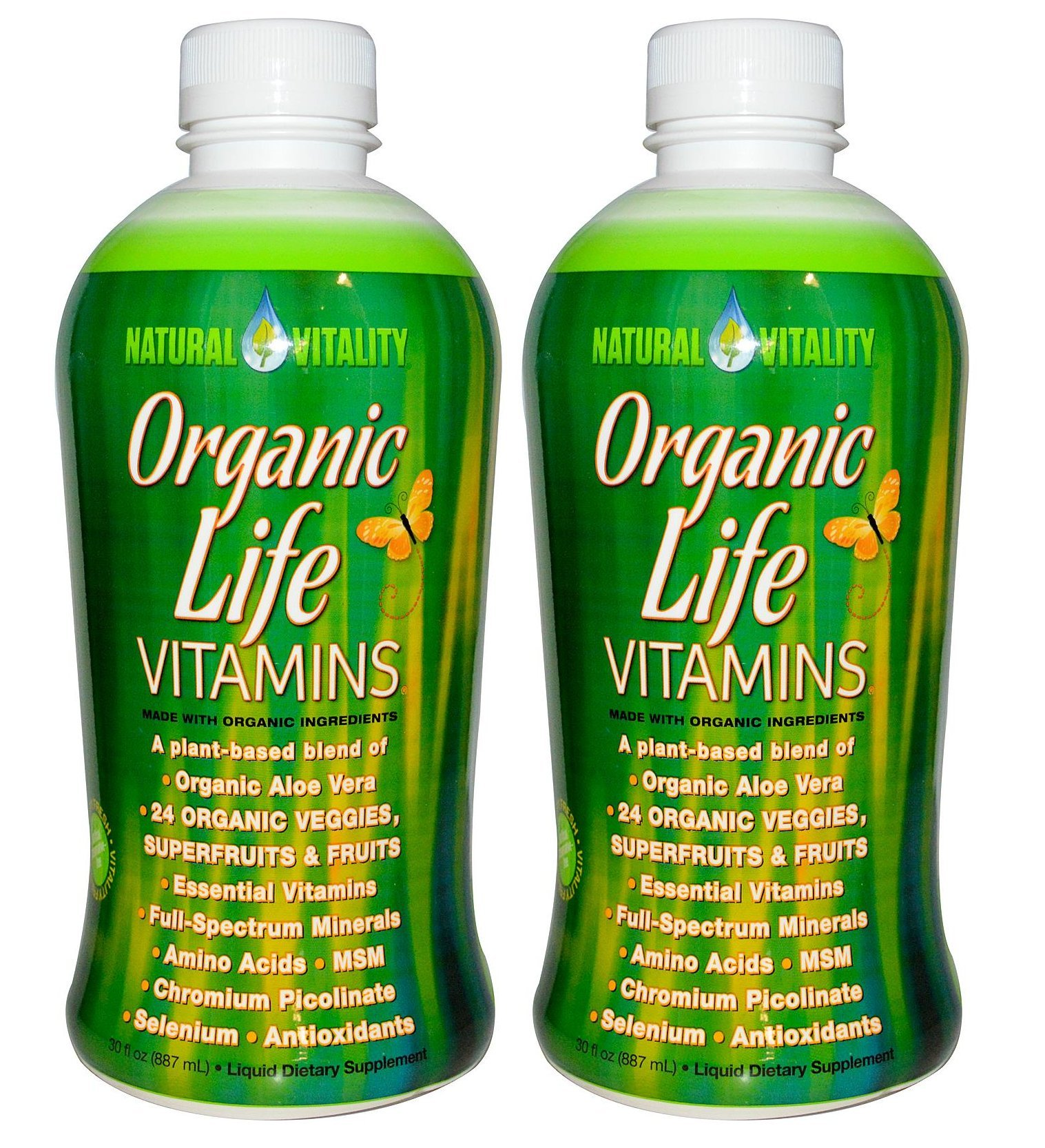 Natural Vitality Organic Life Vitamins 2 Bottles Of 30 Ounce