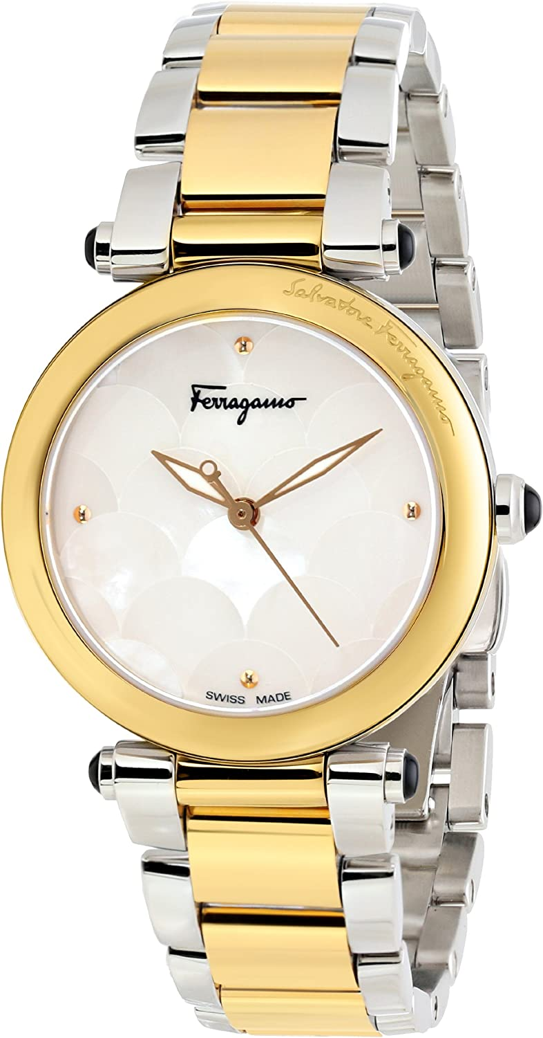 "Salvatore Ferragamo Women's FI2050013 ""Idillio"" Gold Ion-Plated Stainless Steel and White Mother-of-Pearl Watch"