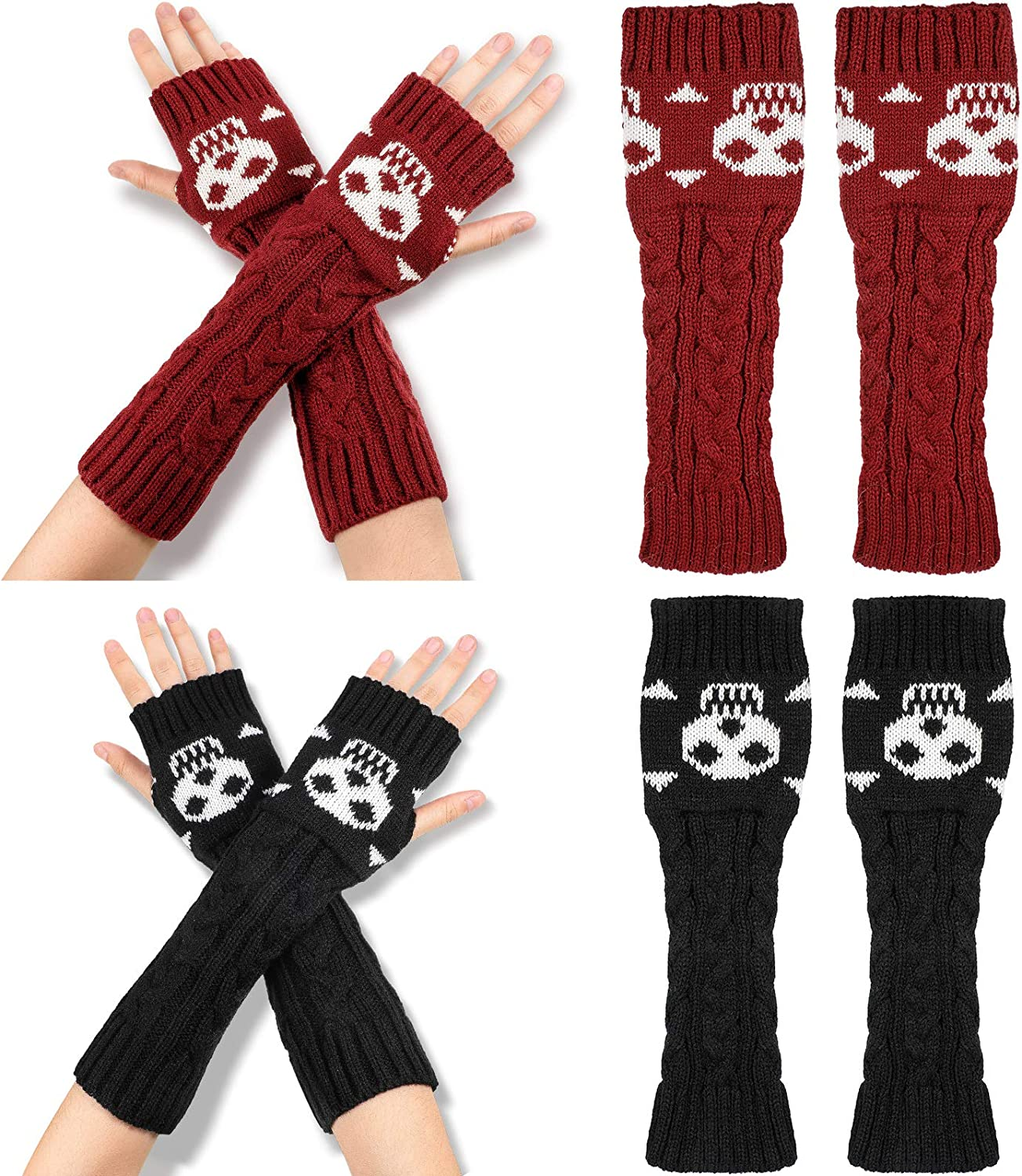 2 Pairs Winter Warm Cable Knit Fingerless Gloves Crochet Thumbhole Arm Warmers Mittens with Crossbones Jacquard Skull for Adult Winter Supply