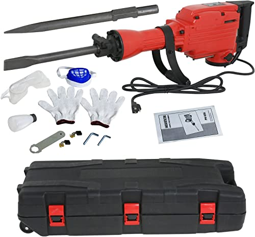 F2C 2200W Heavy Duty Electric Demolition Jack Hammer Concrete Breaker Power Tool Kit 2 Chisel 2 Punch Bit Set W Case, Gloves
