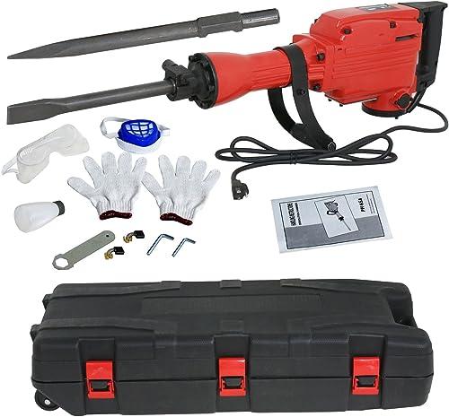 F2C 2200W Heavy Duty Electric Demolition Jack Hammer Concrete Breaker Power Tool Kit 2 Chisel 2 Punch Bit Set W Case