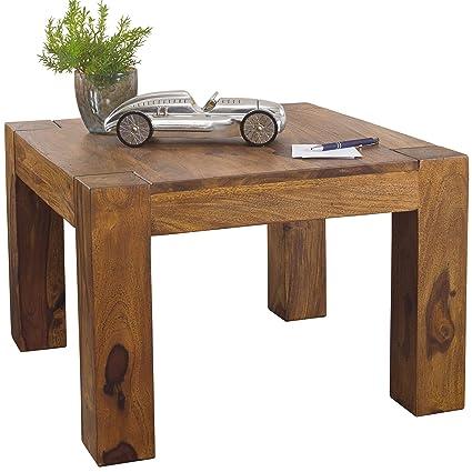 FineBuy Massiver Couchtisch PATAN 60 x 60 x 40 cm Sheesham Holz Massiv |  Wohnzimmertisch Quadratisch Braun | Beistelltisch Massivholz | Design ...