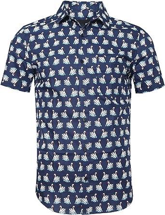 NUTEXROL Camisa Hawaiana para Hombre, Manga Corta, Estampada de Palmas, con 3 Estilos para Verano: Amazon.es: Ropa y accesorios