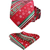 HISDERN Christmas Ties for Men Polyester Silk Ties Xmas Pattern Jacquard Necktie & Pokcet Square Set