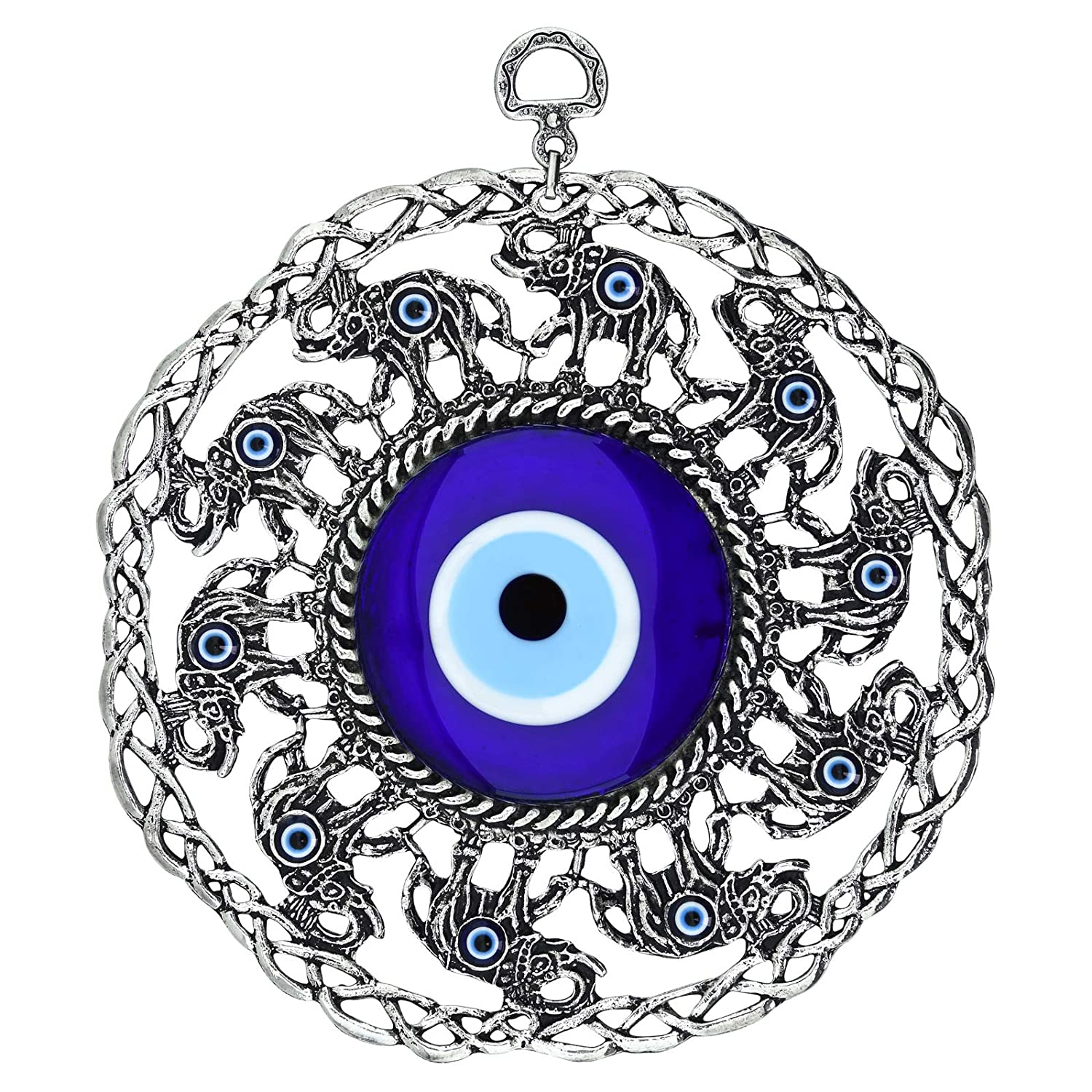 Erbulus Turkish Large Glass Blue Evil Eye Wall Hanging Ornament with Elephant - Metal Home Decor - Turkish Amulet - Protection and Good Luck Charm Gift (Blue Elephant)
