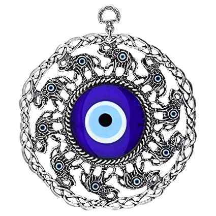 Bead Global Turkish Large Glass Blue Evil Eye Wall Hanging Ornament with  Elephant - Metal Home Decor - Turkish Amulet - Protection and Good Luck  Charm